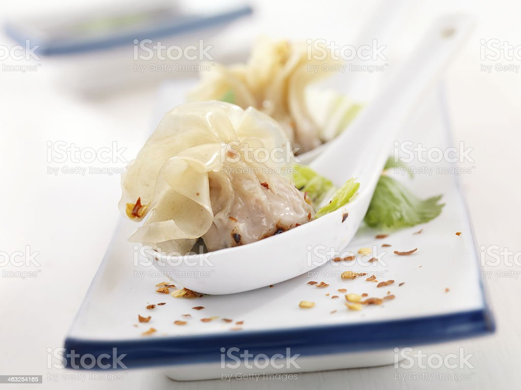 Steamed Wontons stock photo