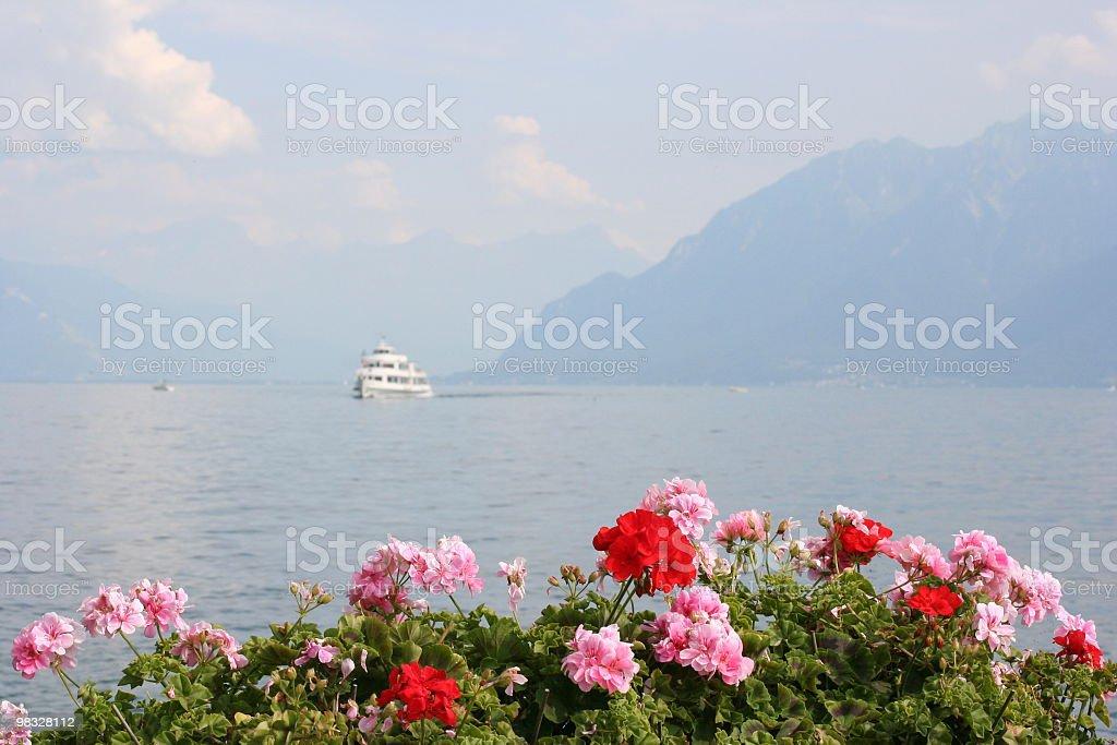 Steamer on lake royalty-free stock photo