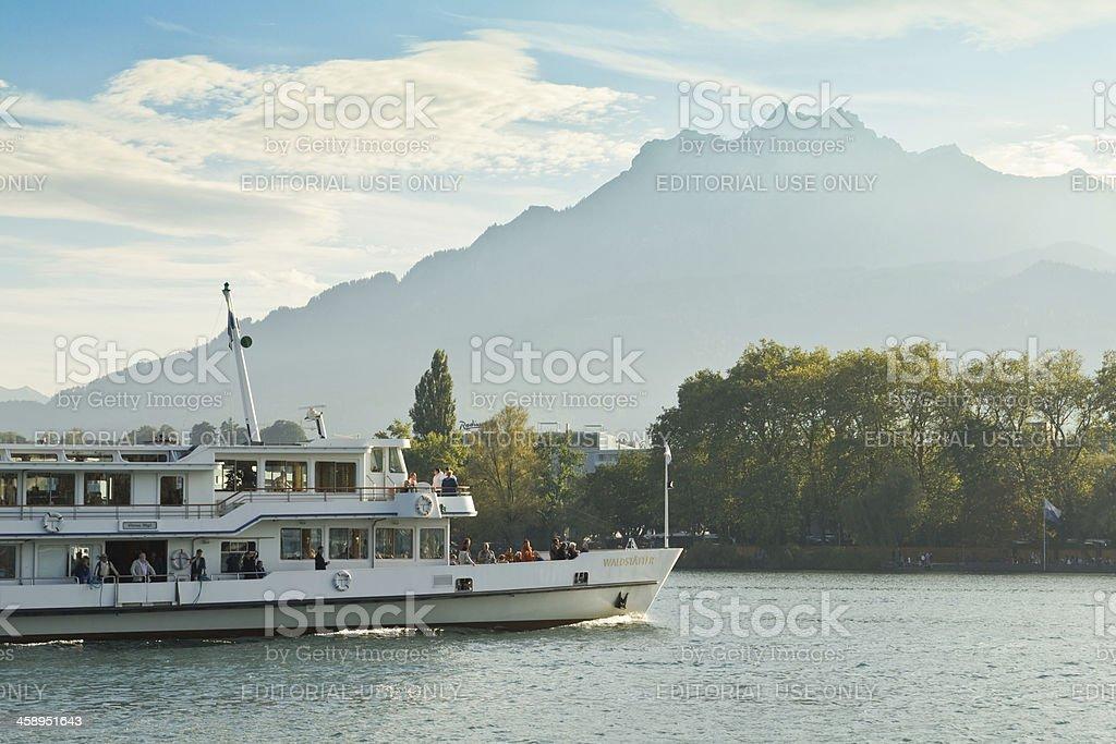 Steamer on Lucern Lake royalty-free stock photo