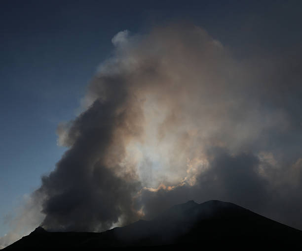Steaming an smoking volcano in Hawaii stock photo
