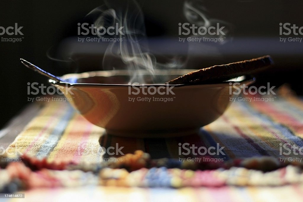 Steaming Bowl of Soup - Close Up stock photo