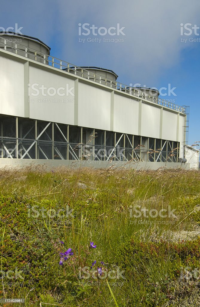 Steaming chimneys royalty-free stock photo