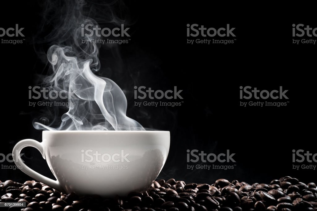 Steaming coffee cup stock photo