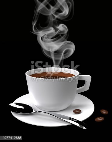 steaming coffee cup with coffee beans isolated on black background