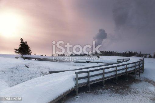 Upper Geyser Basin winter landscape, Yellowstone National Park, UNESCO World Heritage Site, Wyoming, USA, North America