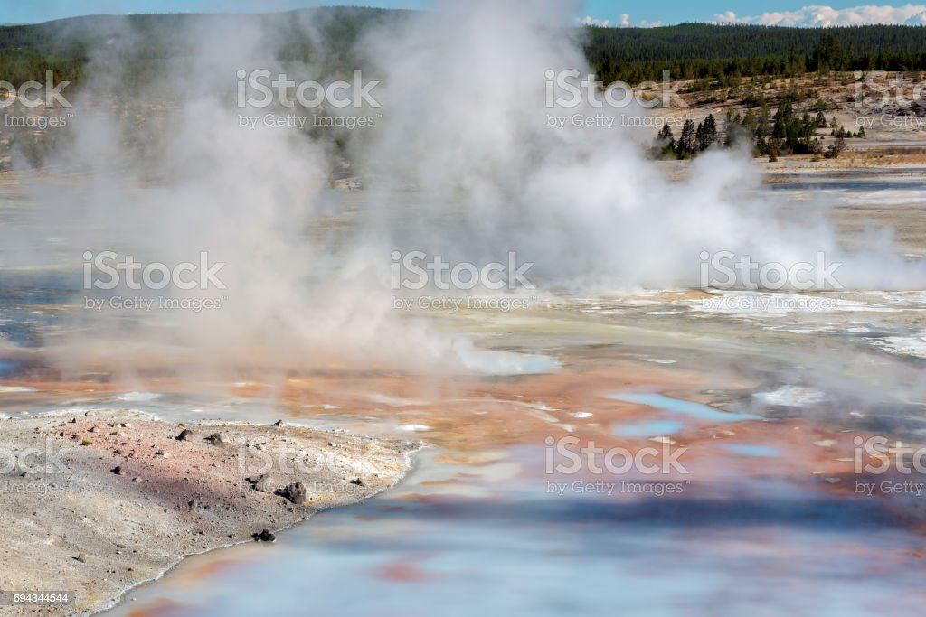 Steaming geyser in Yellowstone stock photo