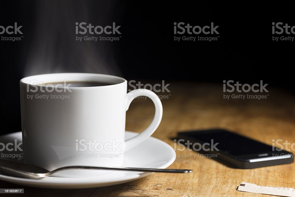 Steaming Hot Coffee and Smartphone Horizontal with Copy Space royalty-free stock photo