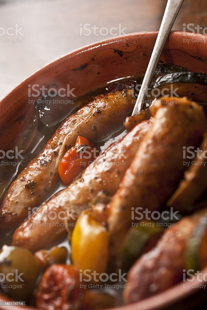 Steaming hot Sausage Casserole royalty-free stock photo