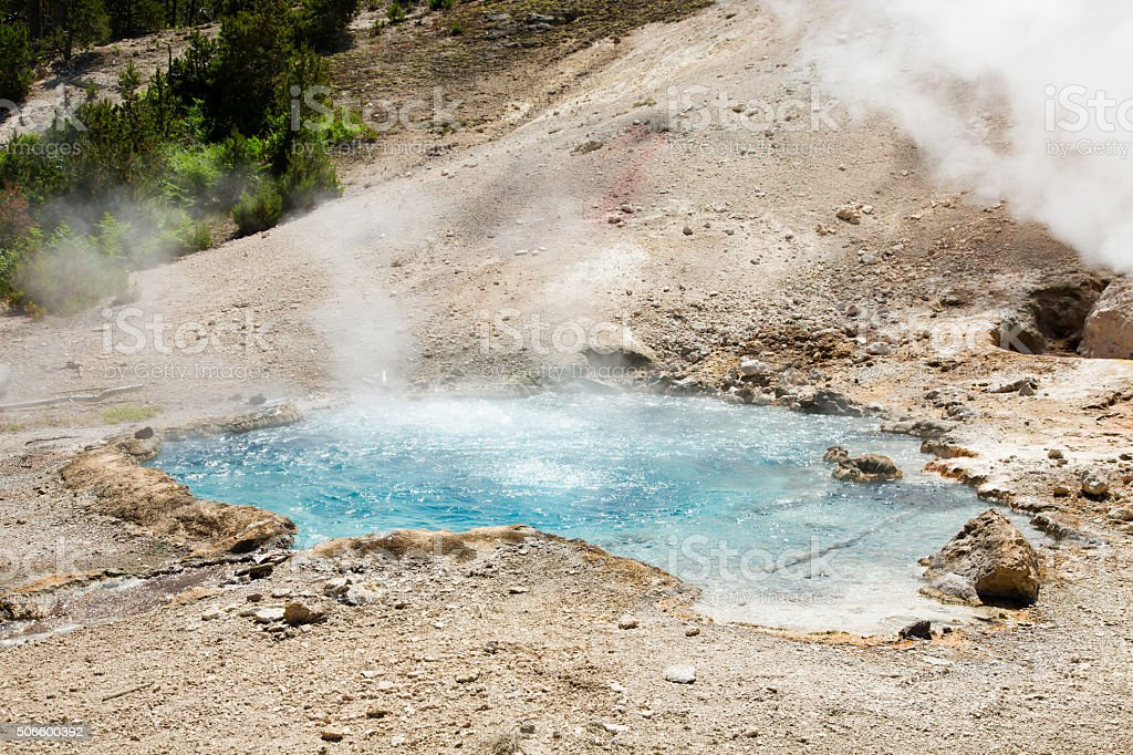 Steaming hot water geyser pool in Yellowstone park surrounded by dirt.