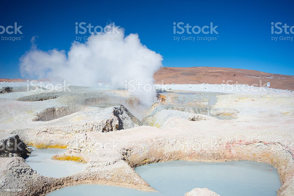 Steaming hot water ponds on the Andes, Bolivia stock photo