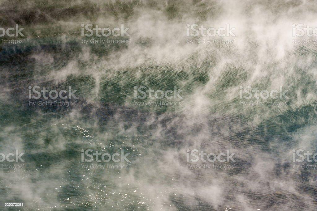 steaming lake in Waimangu volcanic valley, New Zealand stock photo