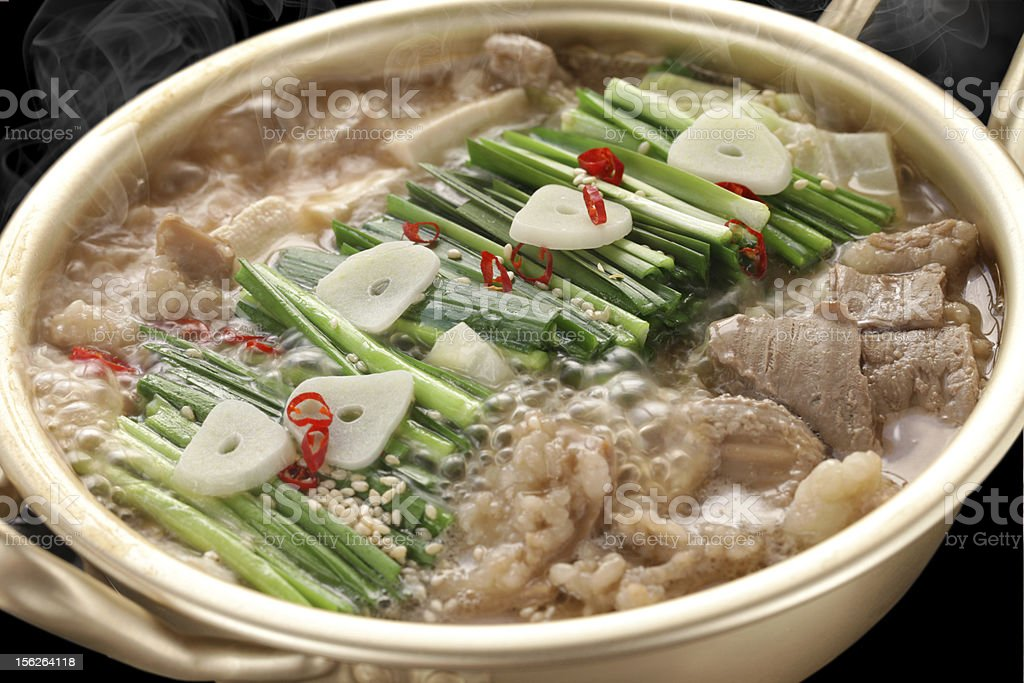 steaming motsunabe, japanese cuisine stock photo