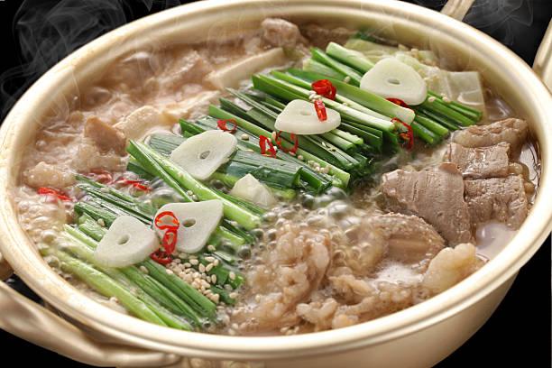 dampf motsunabe, japanische küche - innereien stock-fotos und bilder