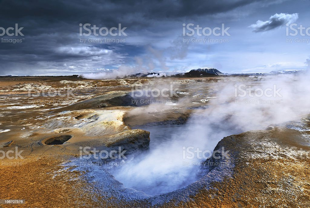 Steaming Mudpot stock photo