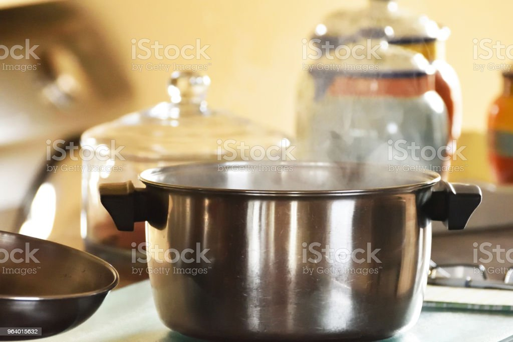 Steaming Pot in the Kitchen - Royalty-free Boiling Stock Photo