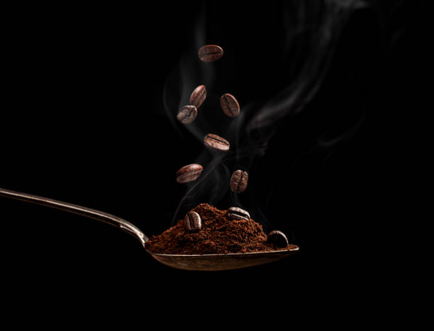 Steaming roasted coffee beans stock photo