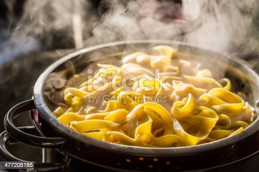 Steaming strainer of noodles.