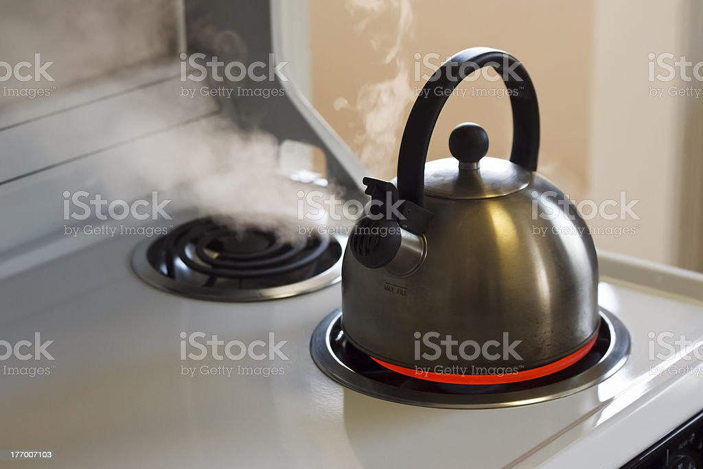 Steaming Tea Kettle stock photo