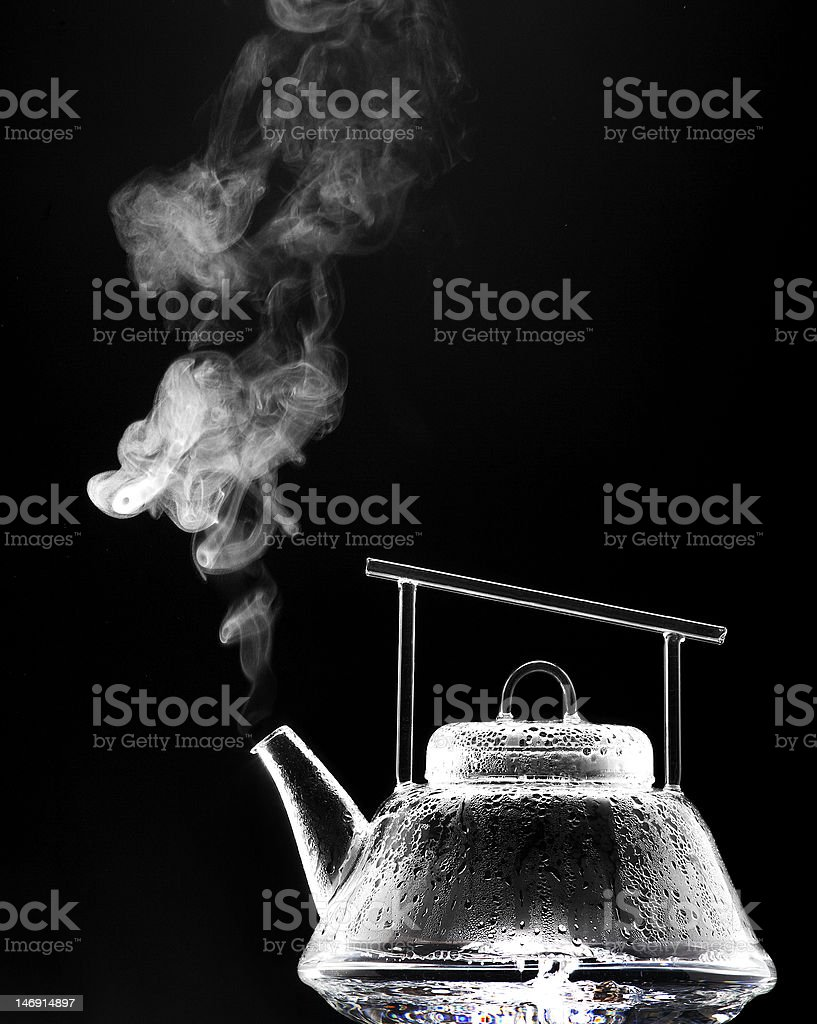 Steaming Tea Pot stock photo