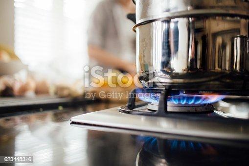 Vegetable steamer on a gas hob.