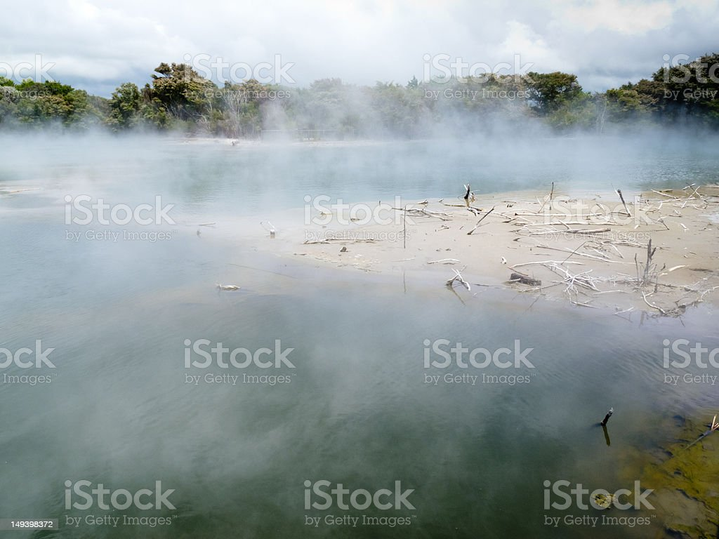 Steaming volcanic hot spring in Rotorua, N Zealand royalty-free stock photo