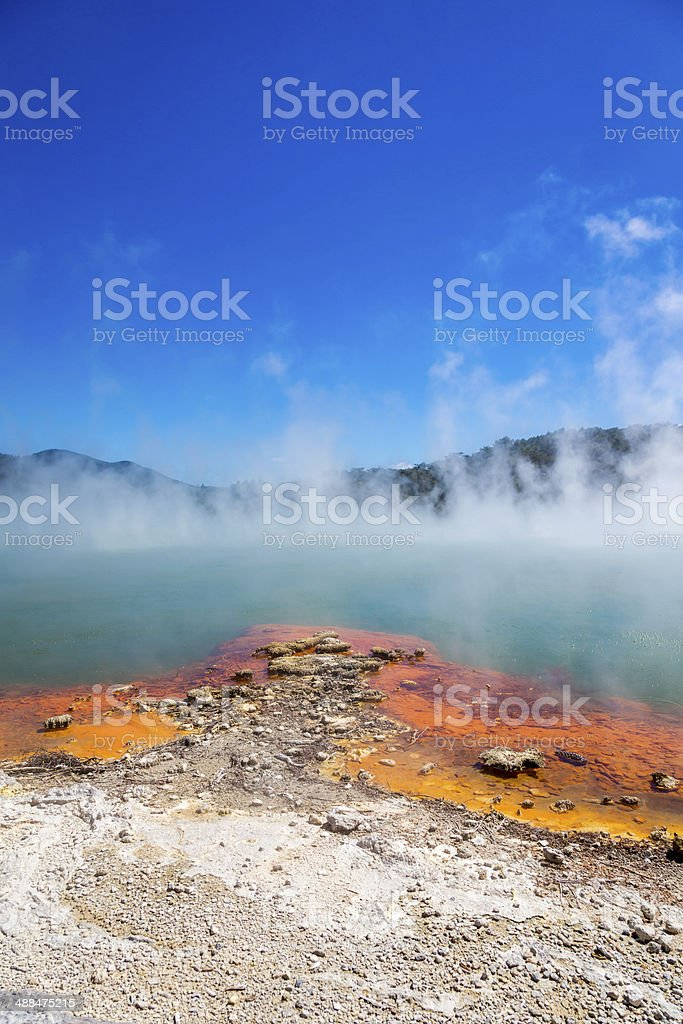 Steaming Water at Champagne Pool stock photo