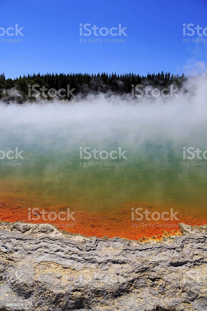 Steaming Water at Champagne Pool, Waiotapu Thermal Reserve, Rotorua stock photo