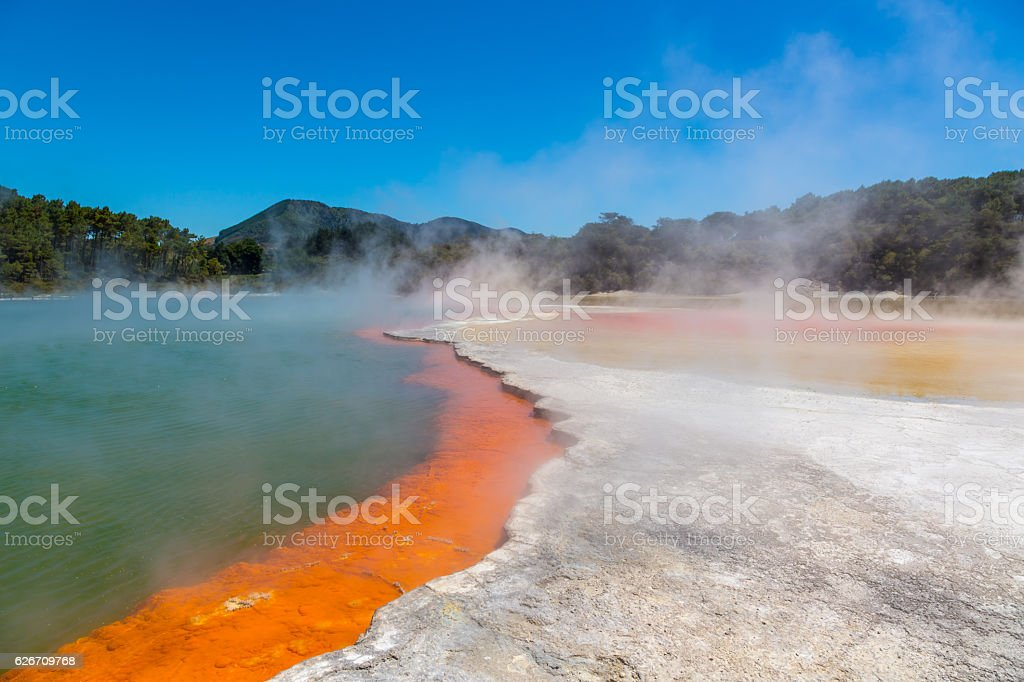 Steaming Water Champagne Pool, Waiotapu Thermal Wonderland, Rotorua stock photo