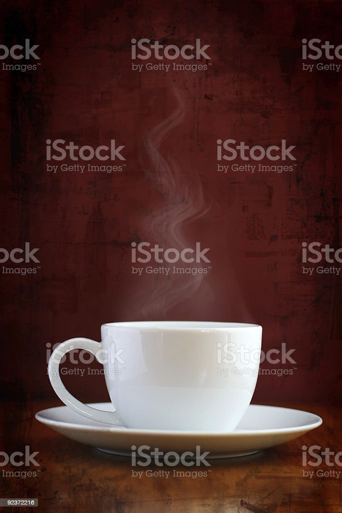 Steaming white cup stock photo