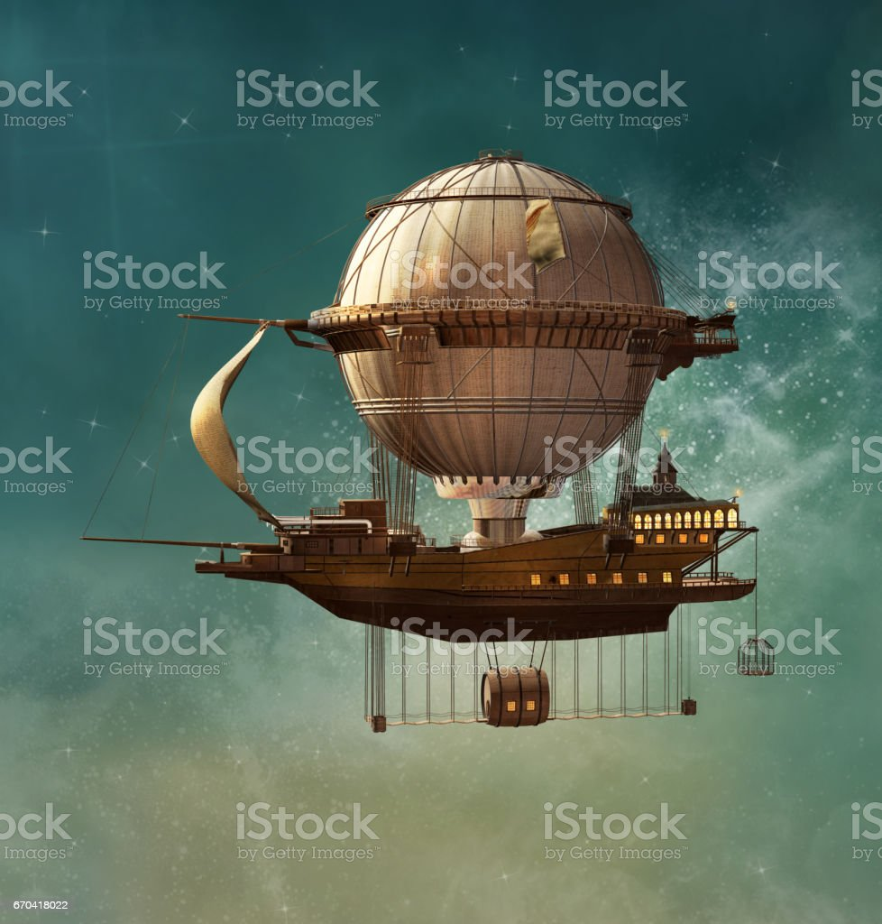Steampunk airship stock photo