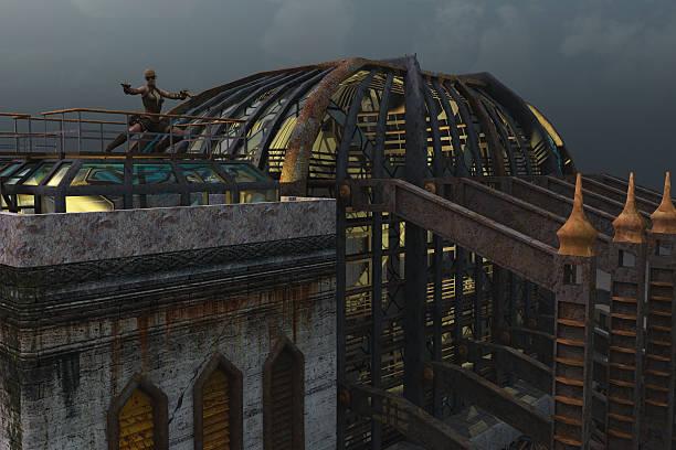Steampunk architecture stock photo