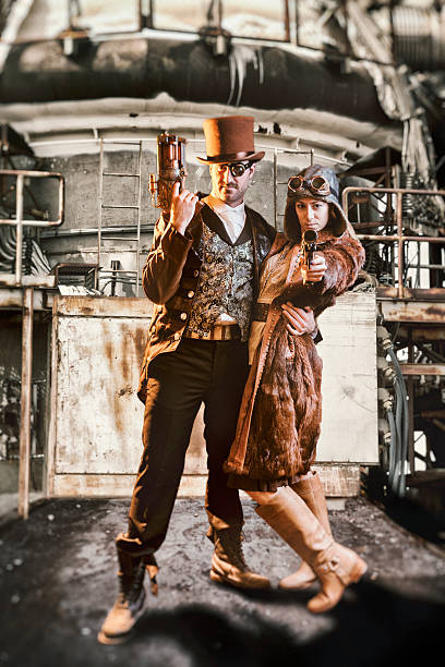 Steampunk Bonnie and Clyde stock photo