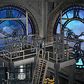Steampunk laboratory inside a clock tower with a view to the blue night - 3D render