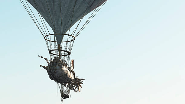 Steampunk Dirigible flying stock photo