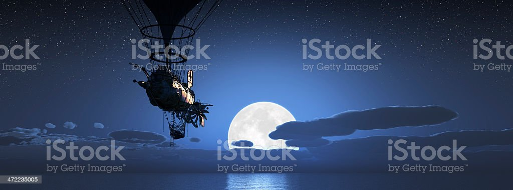 Steampunk Dirigible flying with moon setting over ocean stock photo