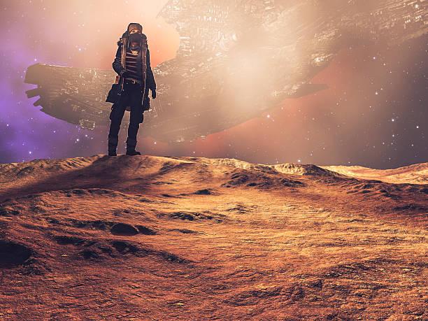 Steampunk explorer on distant planet, spaceship, desert stock photo