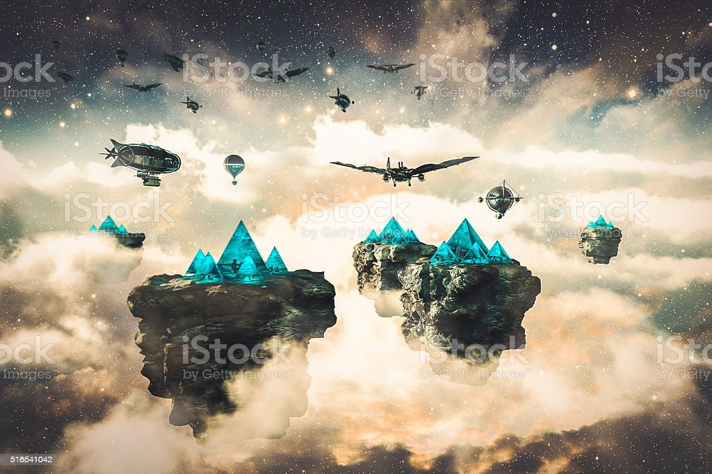 Steampunk fantasy floating islands and spacecrafts stock photo