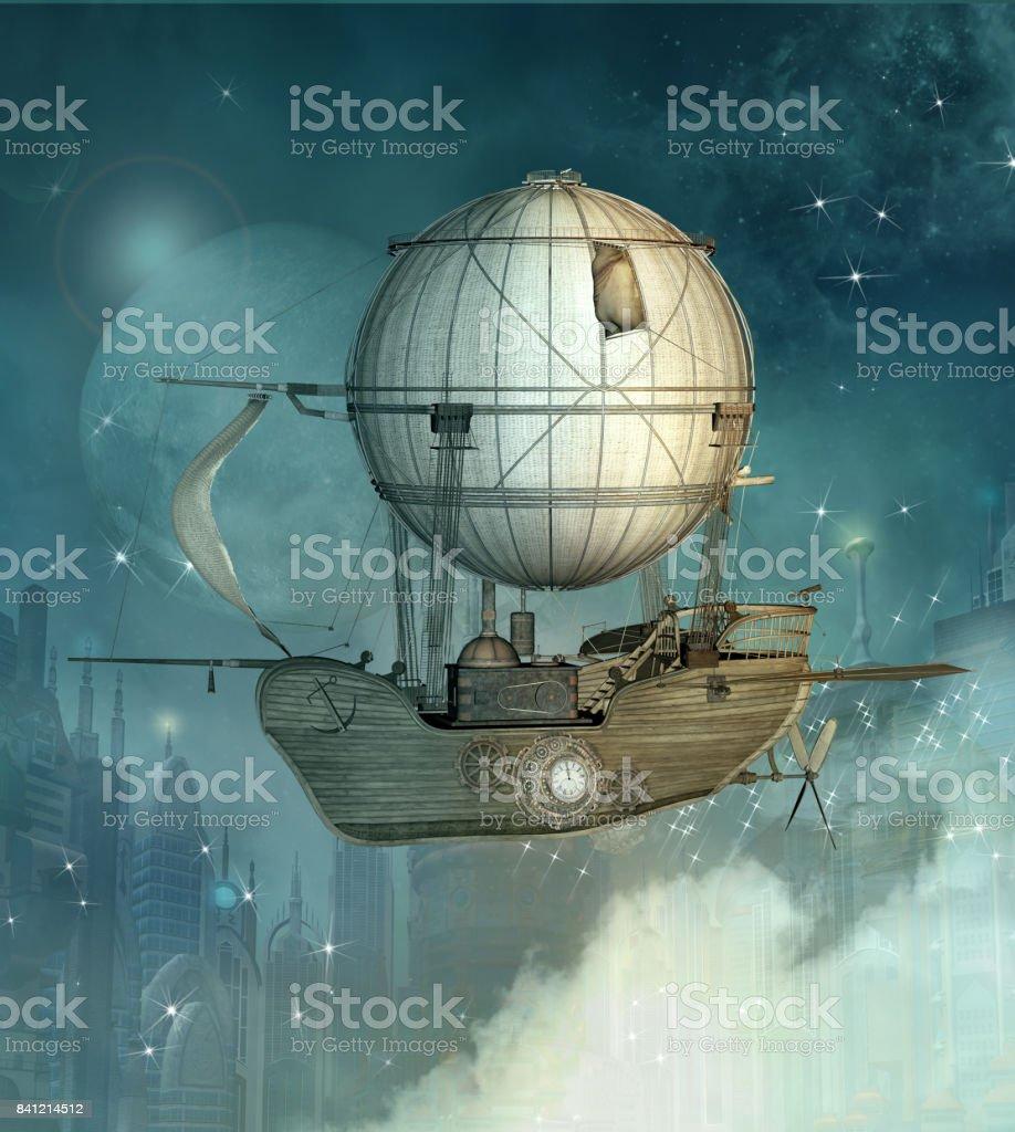 Navio de fantasia steampunk - foto de acervo