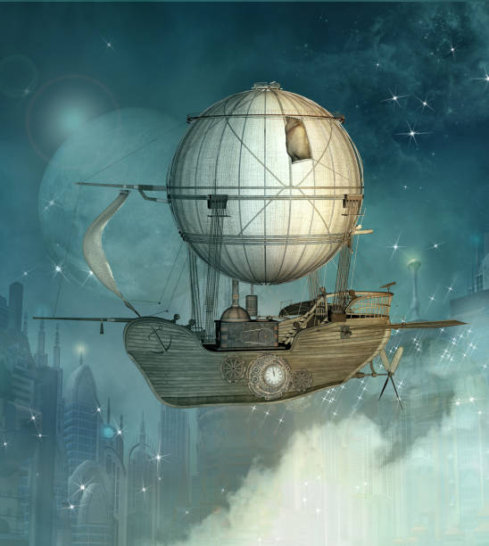 steampunk fantasy vessel - steampunk stock photos and pictures
