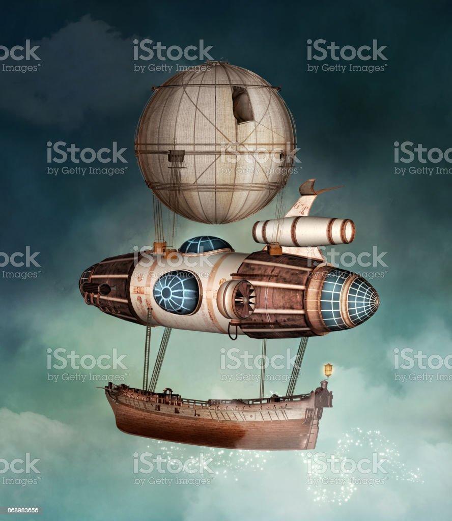 Steampunk fantasy vessel stock photo
