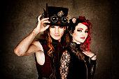 istock Steampunk Fashion Couple 154158879