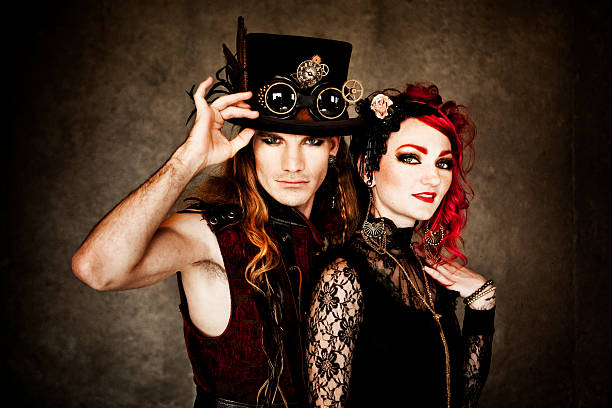 steampunk fashion couple - steampunk stock photos and pictures