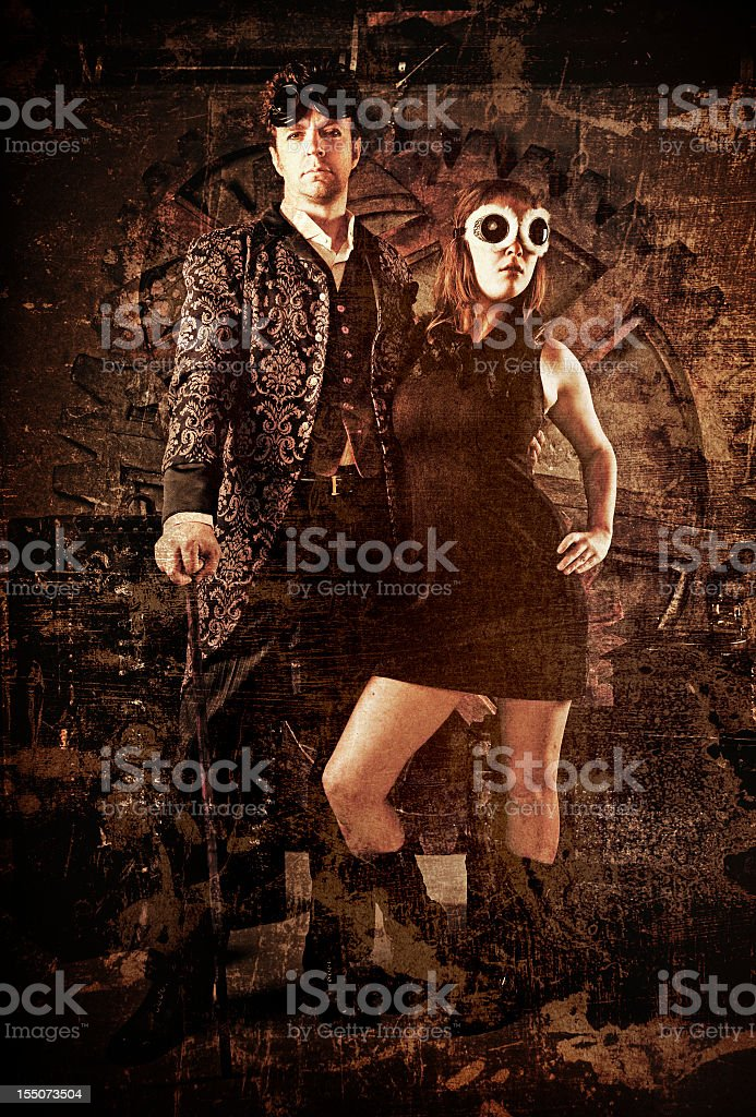 Steampunk Fashion Couple stock photo