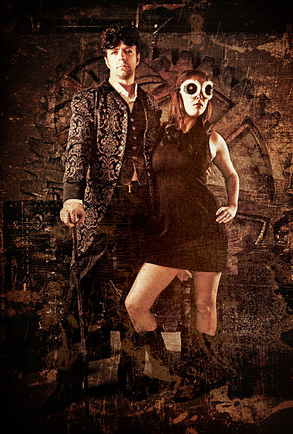 steampunk fashion couple - steampunk fashion stock photos and pictures