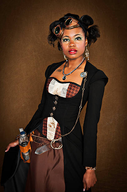 steampunk female - steampunk fashion stock photos and pictures