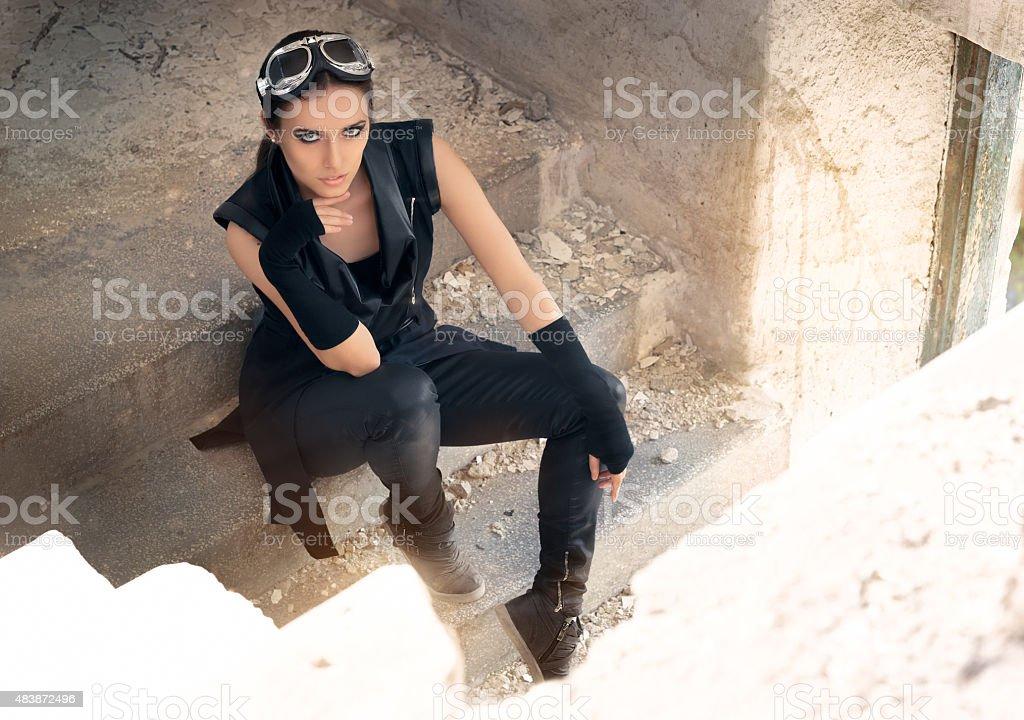 Steampunk Female Warrior in Post Apocalyptic Scenario stock photo
