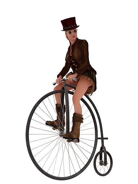 Steampunk girl on penny farthing bicycle stock photo