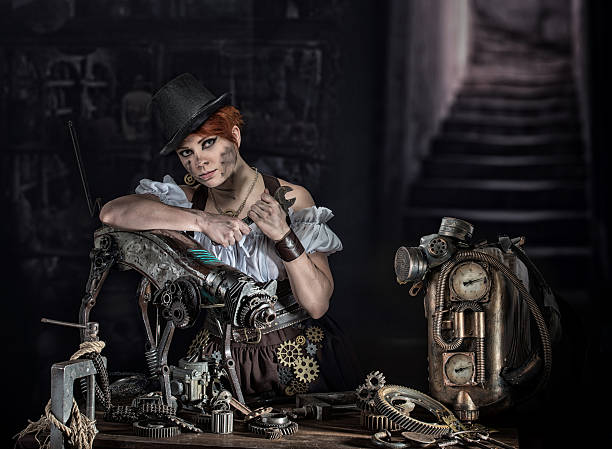 steampunk girl - steampunk fashion stock photos and pictures