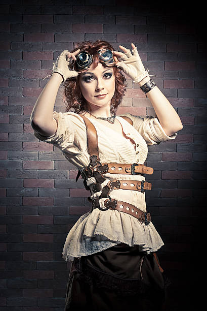 Steampunk girl with goggles stock photo