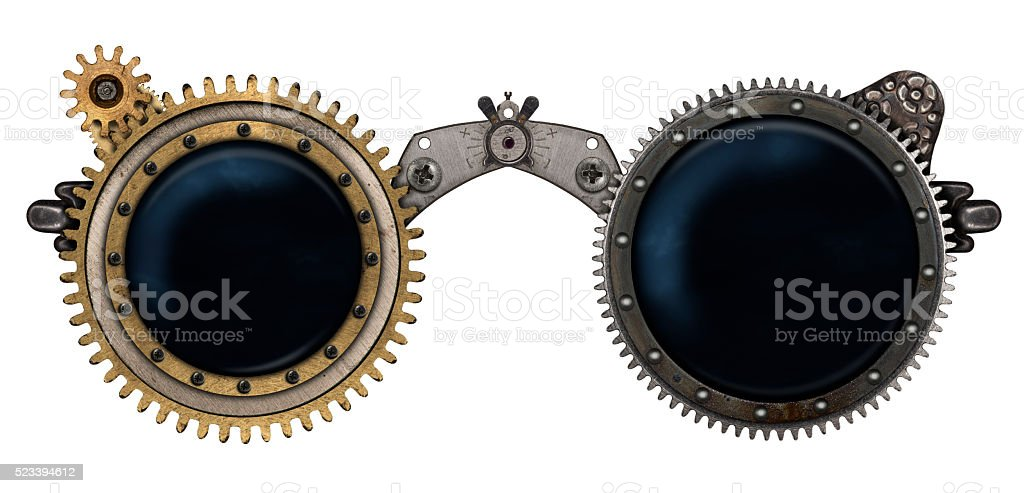 Steampunk glasses metal collage stock photo